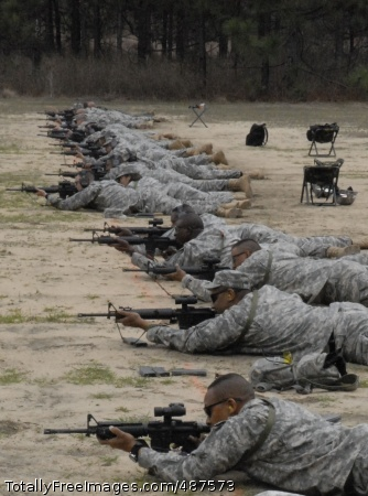 AWG Training - Fort Jackson drill sergeants line up to fire from 300 meters Tuesday at Argentan Range during Asymmetric Warfare Group training. The course reinforces Basic Rifle Marksmanship skills and is intended to give drill sergeants tools they can bring back to training their Soldiers. Photo Credit: Mar 13, 2008