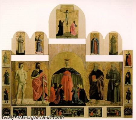 Polyptych of the Misericordia 1445-62 (130 Kb); Oil and tempera on panel, Base 330 cm, height 273 cm; Pinacoteca Comunale, Sansepolcro