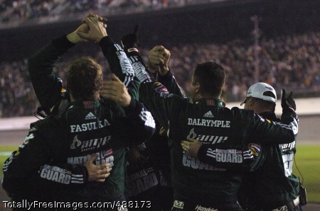Guard Car Wins Members of Hendrick Motorsports No. 88 National Guard/Mountain Dew AMP pit crew celebrate after Dale Earnhardt Jr. wins the Budweiser Shootout Feb. 9 at Daytona International Speedway.