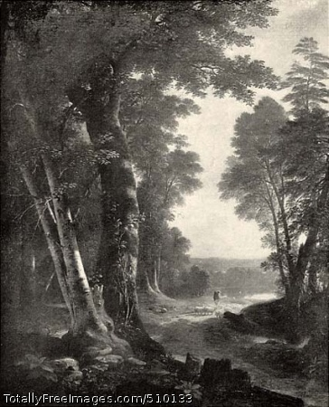 The Beeches Landscape with basswood and beech trees in the foreground, and a lake in the middle ground. On the right, a shepherd walks his herd of sheep along a dirt road that winds across the middle ground toward the shore of the lake. Artist: Durand, Asher B., 1796-1886, painter. Medium: Oil on canvas. Smithsonian Control Number: IAP 36120178