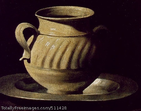 Still Life with Pottery Jars Detail of rightmost jar; Oil on canvas, 46 x 84 cm; Museo del Prado, Madrid
