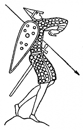Soldier with shield, spike, and sword.