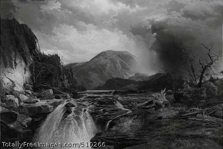 The Wilds of Lake Superior Landscape with rapids in foreground, rocky promontories at left, fallen and dying trees at right, and Tussey Mountain at center in the background. Dark clouds are at right. Artist: Moran, Thomas, 1837-1926, painter. Medium: Oil on canvas. Smithsonian Control Number: IAP 07130120