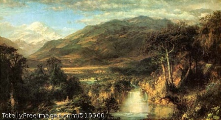 Heart of the Andes Lush tropical landscape with a waterfall in the foreground and the snow-capped Mt. Chimborazo in the background. On the left there is a small cross along a path. Artist: Church, Frederic Edwin, 1826-1900, painter. Medium: Oil on canvas. Smithsonian Control Number: IAP 36120320