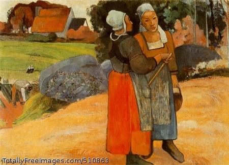 Paysannes bretonnes (Breton peasant women) 1894 (160 Kb); Oil on canvas, 66 x 92 cm (26 x 36 1/4 in); Musee d'Orsay, Paris