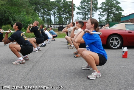 Paratroopers get A group of paratroopers learn how to correctly do the front squat during a CrossFit certification at CrossFit East gym in Southern Pines on September 17. Paratroopers from the 407th Brigade Support Battalion, 2nd Brigade Combat Team, and 1st Battalion, 508 Parachute Infantry Regiment, 4th Brigade Combat Team, 82nd Airborne Division took attended a two day CrossFit certification. (U.S. Army photo by Sgt. Susan Wilt, 2nd BCT, 82nd Abn. Div. PAO) Photo Credit: Sep 24, 2008