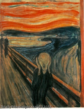"The Scream (or The Cry) 1893; 150 Kb; Casein/waxed crayon and tempera on paper (cardboard), 91 x 73.5 cm (35 7/8 x 29""); Nasjonalgalleriet (National Gallery), Oslo"