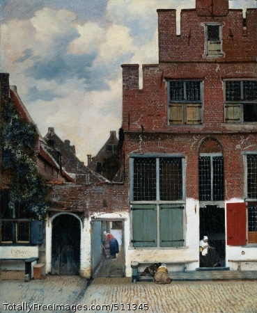"View of Houses in Delft, known as ""The Little Street"" Vermeer, Jan c. 1658; Oil on canvas, 54.3 x 44 cm; Rijksmuseum, AmsterdamIn a cobblestone street are two houses with a gate opening onto the passageway between them. A woman sits in an open doorway, busy sewing; two children are playing on the stoop. Soapy water is washing down a small runnel between the paving stones - probably the woman in the passageway has just scrubbed her part of the stoop. Vermeer has recorded this everyday scene with apparent casualness. Although world-famous, not much is known about Vermeer's Little Street. In fact the original location has never been identified, and indeed may never have existed. But more significant is the atmosphere of the picture. The women are diligently employed while the children are absorbed at play. The scene emanates tranquillity and security.Highly suggestiveVermeer has achieved a great deal with limited means. A detail from the bricks above the gateway illustrates how suggestive his method of painting is. In some places the canvas shows through the paint but together the touches of color combine to create the impression of solid brick. Elsewhere the paint has been thickly applied, as on the shutters in front of the windows and the white plastered portions of the wall. Here the surface of the paint appears flaked, like plaster, while on the shutters it is smooth as if painted on wood.Wall above the gate: dabs of paintThe chalk is almost tangibly flakedSmoothly painted shuttersThe gutterProbably the water in the gutter runs out into a ditch or canal, in front of the picture. Without the diagonal of the gutter the picture would have less depth. And with the gutter Vermeer draws the viewer's attention to the woman in the passageway. Clearly, the artist found this through-view important; as an overpainting shows. Originally there was also a second woman in the gateway, but because her figure blocked the view through the passageway, Vermeer painted her out. Vermeer would have seen similar through-views by his colleague and townsman, Pieter de Hooch. However, only rarely did De Hooch employ this technique as successfully as Vermeer has here.Woman seated: X-ray photoDe Hooch: slightly less subtleDe Hooch's woman, window and wallSombre yet freshIn this picture the sky is cloudy and the colours are muted. Besides brown and red there are touches of blue in the sky, the garments of the woman who is furthest away, and the plant at the left. When first painted the ivy was greener, but the yellow pigment in the paint has faded. Nevertheless, the painting appears fresh, thanks to the white plasterwork. Against this, the figures stand out in pleasing contrast. At the left is Vermeer's signature - also on a white wall. The figures appear convincingly real, even though, like the bricks or the cobblestones, they are not rendered in detail.Scrubbing woman with a touch of blueBlue-green ivy; signatureWoman sewing in doorwayExpensive StreetWhen Vermeer died he left no more than 34 paintings. These found their way into private collections and were 'forgotten'. In the nineteenth century Vermeer was rediscovered. His work soon became popular and prices for his paintings soared. The Little Street was in the collection of Professor Jan Six at the start of the twentieth century. Six wanted a million guilders (!) for the painting, but in the end he received just 625,000. It was bought by a wealthy industrialist who snatched it from under the noses of French buyers. In 1921 he presented it to the Rijksmuseum. The Little Street now hangs near the three other Vermeers in the museum: the Kitchen Maid, the Woman Reading a Letter and the Love Letter.Credits: The Rijksmuseum, Amsterdam."