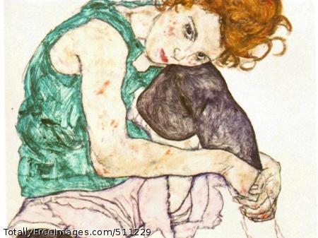 Sitting Woman with Legs Drawn Up 1917; Narodni Galerie, Prague (110 Kb)