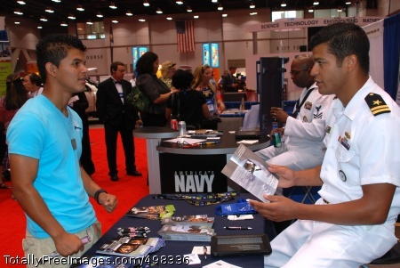 110630-N-MN593-014 CINCINNATI, Ohio (June 30, 2011) Lt. Jason Bailey, assigned to Navy Recruiting District Ohio, discusses opportunities available in the Navy during the League of Latin American Citizens Conference. The league is the largest and oldest Hispanic organization in the country. (U.S. Navy photo by Mass Communication Specialist 1st Class Keith A. Bryska/Released)