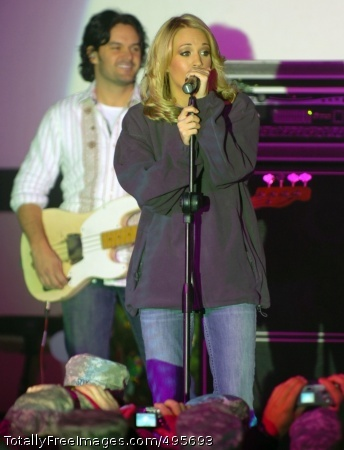 Holiday spirit Country music star and American Idol winner Carrie Underwood performs for Soldiers at Camp Buehring, Kuwait.  Photo Credit: Dec 22, 2006