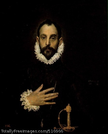 "The Knight with His Hand on His Breast (60 Kb); Oil on canvas, 81 x 66 cm (31 7/8 x 26""); Museo del Prado, Madrid"