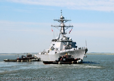 110520-N-1713L-072 Norfolk (May 20, 2011) The guided-missile destroyer USS Ramage (DDG 61) is escorted into the channel by tugboats as it departs Naval Station Norfolk for a scheduled ballistic missile defense deployment to the U.S. 6th Fleet area of responsibility. (U.S. Navy photo by Mass Communication Specialist 1st Class Lolita M. Lewis/Released)