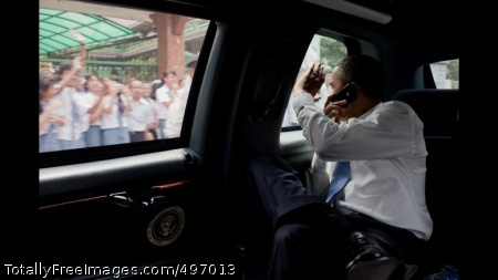 President Obama Waves from the Motorcade President Barack Obama waves to people along the motorcade route while traveling from the University of Indonesia to the airport in Jakarta, Indonesia, Nov. 10, 2010. (Official White House Photo by Pete Souza)