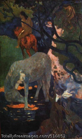 The White Horse Gauguin, (Eugène-Henri-) Paul 1898; Louvre, ParisAlthough Gauguin was settled in Tahiti when he painted this superb picture, it does not primarily suggest a local connection but rather a final outcome of the sense of newly tapped powers in color and new sensations to be derived from it that had been the preoccupation of a whole half-century. The seed of Impressionism, it might be said, expanded here into a marvellous exotic bloom. The color, however, is no longer descriptive or atmospheric but makes an impact on the senses akin to that of music. The white horse itself suggests some creature of heroic fable, yet while it shares this appearance of belonging to an imaginary world with the riders in the background, the picture had its basis in Polynesian reality. The inhabitants used horses as a means of transport in the absence of roads and bridges. Bengt Danielsson, the anthropologist and historian, in his book Gauguin in the South Seas, makes this remark with special reference to the Marquesas where `everyone still rides a horse from the bishop down to the smallest native boy'. Gauguin did not move to the Marquesas until 1901 but as this picture shows the native horsemanship had already caught his attention.