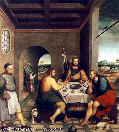 Supper at Emmaus Bassano (family da Ponte) c. 1538; Oil on canvas, 235 x 250 cm; Chiesa, CittadellaIn his lifetime, Jacopo Bassano was one of the most famous and influential masters of the Late Renaissance in Italy, and his paintings were widely collected throughout Europe for their luminous colors and sensitively observed incidents from everyday life. Trained by his father, a minor painter, in the north Italian hill town of Bassano, he is recorded in neighboring Venice by 1535, where he was studying with Bonifazio de' Pitati. Bassano's youthful works also reflect the influence of Titian, Pordenone, and other northern Italian masters, along with artists like Raphael and Albrecht Dürer, whose compositions he knew through prints. By the late 1530s, however, his style developed beyond these sources to assert an inventiveness rivaling that of his contemporaries Tintoretto and Veronese. Bassano's sons (Francesco, Leandro, and Gerolamo) helped to extend his influence well into the seventeenth century.Bassano painted this devotional subject, for a chapel in the town's cathedral, depicting Christ's miraculous appearance after the Resurrection (Luke 24:13). In the act of blessing and breaking bread at the inn, Christ reveals himself to two of his disciples who previously had not recognized him. The sacramental message is further conveyed in the finely executed still life of bread, wine, and eggs--the latter a traditional symbol of resurrection and immortality. By including such elements of everyday life as a servant in accurately portrayed contemporary dress, and a quarrelsome cat and dog, Bassano has in this work brought the miracle into the scope of the viewer's experience to a degree that no previous artist had achieved.