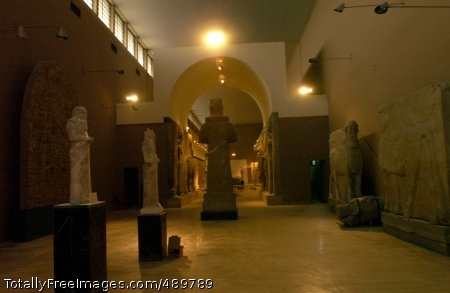 After the war, and the Iraqi National Museum's subsequent closure, many of the exhibits were either looted or vandalized. Renovations are currently being made throughout some of the larger exhibits inside the Baghdad museum.  Photo Credit: Nov 15, 2007