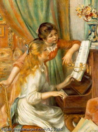 Jeunes filles au piano (Girls at the Piano) 1892 (150 Kb); Oil on canvas, 116 x 90 cm (45 5/8 x 35 3/8 in); Musee d'Orsay, Paris