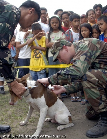 Pet Wellness Day Capt. Lane Hansen, a veterinary officer from the 1st Special Forces Group, and a Filipino Soldier inject vitamin B into a child's pet during a medical civic action program at Lambayong village Feb. 25. Photo Credit: Mar 9, 2007