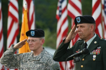 Saluting the Colors Maj. Gen. Robert M. Radin and Command Sgt. Maj. Stephen D. Blake salute the colors during the Healing Field event.  Photo Credit: Aug 15, 2008