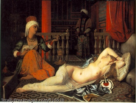 Odalisque with a Slave 1840 (130 Kb); Oil on canvas mounted on panel, 29 3/8 x 39 3/8 in; Fogg Art Museum, Harvard University, Cambridge, Massachusetts