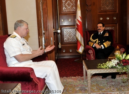 110117-N-8273J-256 MANAMA, Bahrain (Jan. 17, 2011) Chief of Naval Operations (CNO) Adm. Gary Roughead meets with His Majesty the King Hamad bin Isa Al Khalifa during an office call while visiting Manama, Bahrain. (U.S. Navy photo by Chief Mass Communication Specialist Tiffini Jones Vanderwyst/Released)
