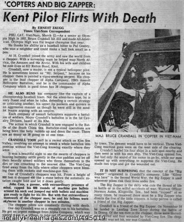 Newspaper Article Seattle newspaper runs a Sunday feature story about Bruce and the challenges of flying in a combat zone, circa 1966. Photo Credit: Feb 7, 2007