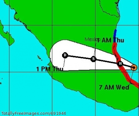 Dean Hurricane Dean, shown in the orange dot at 7 a.m. (CDT) in the Bay of Campeche, with a forecast track through central Mexico. Photo Credit: Aug 22, 2007