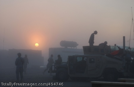 The Sun Also Rises Soldiers from 2nd Platoon, Battery A, 1st Battalion, 319th Airborne Field Artillery Regiment prepare for a early morning mission Feb. 17, out of Contingency Operating Base Speicher in Tikrit, Iraq.  Photo Credit: Feb 27, 2007