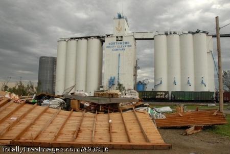 Twister! A grain elevator escapes destruction. Photo Credit: Aug 30, 2007