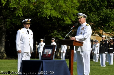 110426-N-ZB612-082 WASHINGTON (April 26, 2011) Chief of Naval Operations (CNO) Adm. Gary Roughead welcomes Adm. Edmundo Gonzalez Robles, Commander in Chief of the Chilean navy during a ceremony at the Washington Navy Yard. (U.S. Navy photo by Chief Mass Communication Specialist Tiffini Jones Vanderwyst/Released)