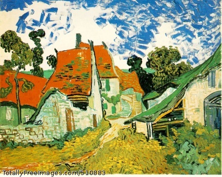 Village Street in Auvers 1890 (230 Kb); Oil on canvas, 73 x 92 cm (28 3/4 x 36 1/4 in); Ateneumin Taidemuseo, Helsinki