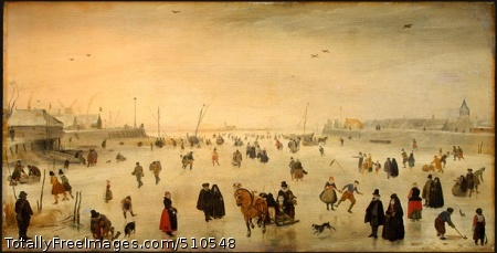 A Scene on the Ice c. 1625; Oil on panel, 39.2 x 77 cm; National Gallery of Art, Washington DC, USA