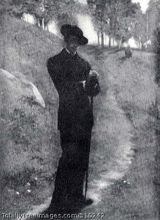 Portrait of the Artist Self-portrait of John La Farge standing on a path that leads back into distant trees and over a hillside. The site has been identified as the La Farge family estate at Glen Cove, Long Island. La Farge wears a black wide-brimmed hat and a black suit, and in his hands he holds a long painter's umbrella, which he leans against. He stands with his head slightly cock as he stares out at the viewer. Artist: La Farge, John, 1835-1910, painter. Medium: Oil on wood. Smithsonian Control Number: IAP 36120517