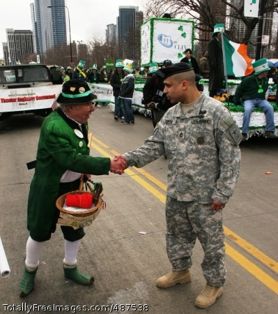 Illinois Soldiers A grateful Leprechaun thanks Sgt. Miguel Cortes, U.S. Army Chicago Recruiting Battalion, for his service before Chicago's 53rd annual St. Patrick's Day parade Saturday March 15, 2008.  Photo Credit: Mar 15, 2008