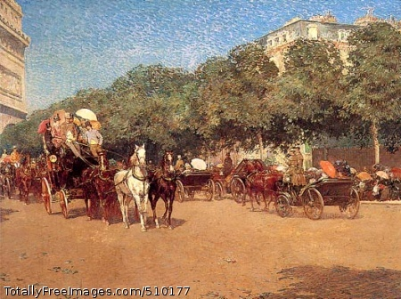 Le Jour du Grand Prix Figures and horse-pulled carriages on a road in Paris on the day of the Grand Prix horse race. Artist: Hassam, Childe, 1859-1935, painter. Medium: Oil on canvas. Smithsonian Control Number: IAP 07130062