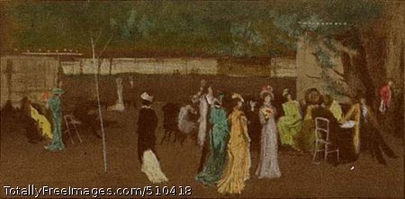 Cremorne Gardens, No. 2 Nocturne view of the crowds milling about Cremorne Gardens, a popular amusement park located in Chelsea, near the Thames. Colored lights, kiosks, and brightly adorned figures stand out against a dark background. Artist: Whistler, James Abbott McNeill, 1834-1903, painter. Medium: Oil on canvas. Smithsonian Control Number: IAP 36120678