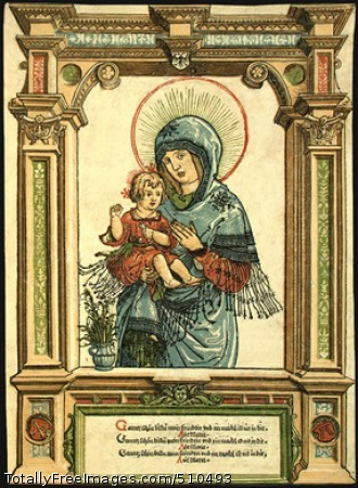 The Beautiful Virgin of Regensburg c. 1519-20; Woodcut printed from six blocks in red, green, blue, light orange, brown, and black, sheet: 33.9 x 24.6 cm; National Gallery of Art, Washington DC, USA