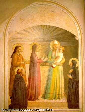 Presentation in the Temple (left) 1440-41 (150 Kb); Fresco, 158 x 136 cm; Cell 10, Convent of San Marco, Florence