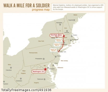 Walk A Mile for A Soldier-mom Marcia Hawkins and nine others are walking 400 miles from Deerfield, Mass., to Washington, D.C., to let America's military know the country appreciates their service - whatever branch, wherever stationed. Photo Credit: Aug 23, 2007