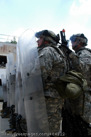 080610-A-8287F-009 110th Maneuver Enhancement Brigade Soldiers maintain a united front during KFOR 10 riot control training at the Joint Multinational Readiness Center in Hohenfels, Germany, June 10, 2008.' Photo Credit: Jun 27, 2008