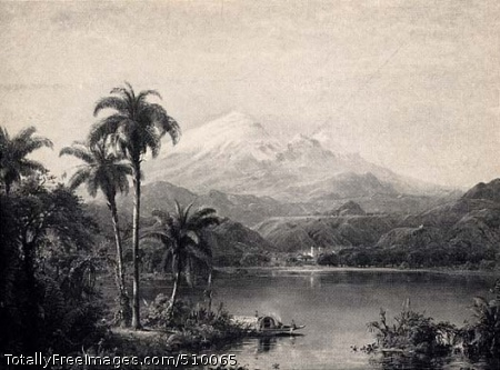 Scenery of the Magdalena River, New Granada, South America Artist: Church, Frederic Edwin, 1826-1900, painter. Medium: Oil on canvas. Smithsonian Control Number: IAP 08260188