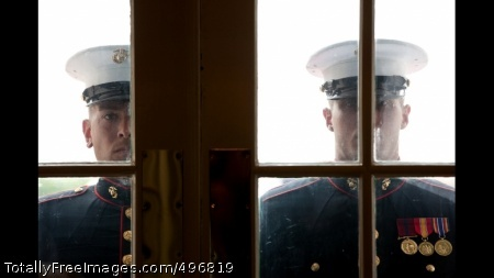 Marine Sentries Stand Ready To Open The Doors At The South Portico President Barack Obama and Vice President Joe Biden head toward the Oval Office Private Dining Room for lunch, June 8, 2011. (Official White House Photo by Pete Souza)