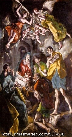 "The Adoration of the Shepherds 1612-14 (230 Kb); Oil on canvas, 319 x 180 cm (125 5/8 x 70 7/8""); Museo del Prado, Madrid"