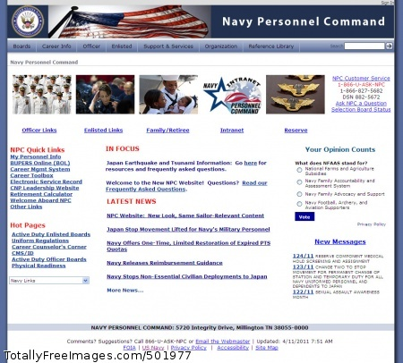 110411-N-XX000-001 MILLINGTON, Tenn. (April 11, 2011) In this computer screen capture taken April 11, 2011, the Navy Personnel Command launched its new website  to comply with a Navy-wide mandate to consolidate all public websites. The website has been moved to a new server hosted by the Defense Information Systems Agency. (U.S. Navy photo/Released)