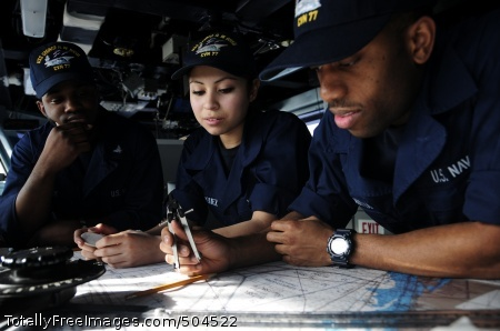 110201-N-8913A-089 ATLANTIC OCEAN (Feb. 1, 2011) Sailors assigned to the aircraft carrier USS George H.W. Bush (CVN 77) chart a course in the ship's bridge. George H.W. Bush is underway in the Atlantic Ocean conducting composite training unit exercise. (U.S. Navy photo by Mass Communication Specialist 3rd Class Leonard Adams/Released)