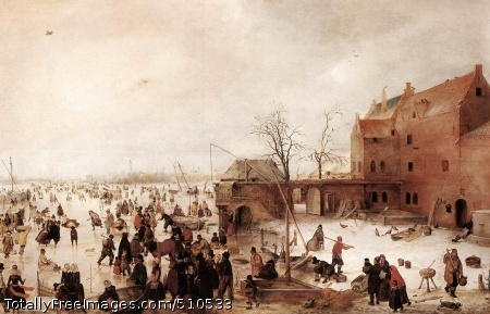 A Scene on the Ice near a Town Avercamp, Hendrick c. 1615; Oil on wood, 58 x 89.8 cm; National Gallery, LondonHendrick Avercamp was known as de stom van Kampen (the mute of Kampen) because he was dumb. He was baptized in the Old Church in Amsterdam on 27 January 1585 but in the following year his parents moved to Kampen where his father was the town apothecary. Avercamp seems to have trained in Amsterdam with Pieter Isaacsz., who was a history painter, portraitist and draughtsman in an elegant, late Mannerist style quite unlike that of Avercamp. Avercamp's manner is based in the first place on that of the Flemish followers of Pieter Bruegel the Elder and he presumably came into contact with some of his followers who had settled in Amsterdam, such as David Vinckboons. Avercamp developed the style of Bruegel and Vinckboons in the direction of more decorative effects, creating scenes crammed with small figures and full of incident. He also possessed a refined sense of colour, carefully placing pinks, reds, blacks and whites with touches of yellow and green to create delicate and subtle effects. He principally painted winter scenes and made many watercolours of these and of fishermen and peasants: a large group of these watercolours is in the Royal Collection.There are dated paintings by Avercamp from 1608 until 1632 but they show relatively little development in style: the earlier paintings are more 'Flemish', that is, closer to Bruegel and his followers; but once he had mastered a successful style Avercamp saw little need to change it substantially. The dating of paintings which do not bear a date is therefore difficult but this particular winter landscape appears to be from about 1615.Under the pale winter sky a frozen waterway receding into the far distance provides the stage for lively diversions upon the ice, such as 'kolf' (an early form of golf).It has been supposed that the building on the right is the Half Moon Brewery at Kampen, where Avercamp lived and worke