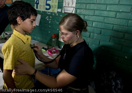 110619-N-RM525-057 SAN JUAN DEL SUR, Nicaragua (June 19, 2011) Lt. Gretchen Coady, from York, S.C., examines a patient at the Escuela Humberto Mendez Juarez medical site during a Continuing Promise 2011 medical community service event. Continuing Promise is a five-month humanitarian assistance mission to the Caribbean, Central and South America. (U.S. Navy photo by Mass Communication Specialist 2nd Class Jonathen E. Davis/Released)