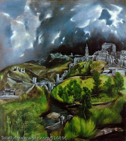 View of Toledo c. 1597 (180 Kb); Oil on canvas, 121.3 x 108.6 cm (47 3/4 x 42 3/4 in); The Metropolitan Museum of Art, New York