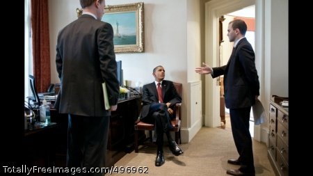 President Obama Talks with National Security Staff President Barack Obama talks with Tommy Vietor, Senior Director and National Security Staff Spokesman, left, and Ben Rhodes, Deputy National Security Advisor for Strategic Communications, in the Outer Oval Office, March 28, 2011. (Official White House Photo by Pete Souza)